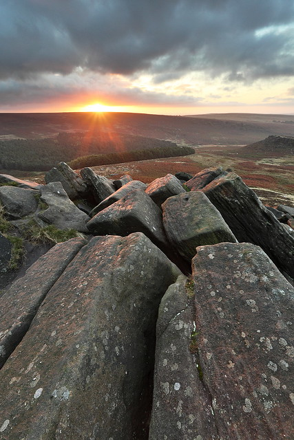 Higger Tor and Carl Wark in Sheffield, South Yorkshire and the Derbyshire Peak District - at sunrise.