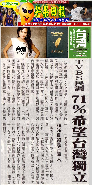 131030芒果早報--台灣之光--終極統一沒市場,民調七成挺台獨
