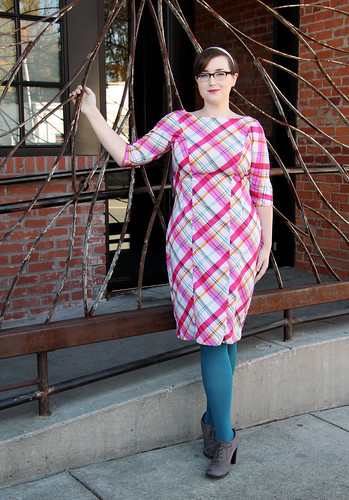 Cocktail Plaid pinks-1 by Modernprintcraft. Silky Faille dress sewn and modeled by Spoonflower employee Elizabeth