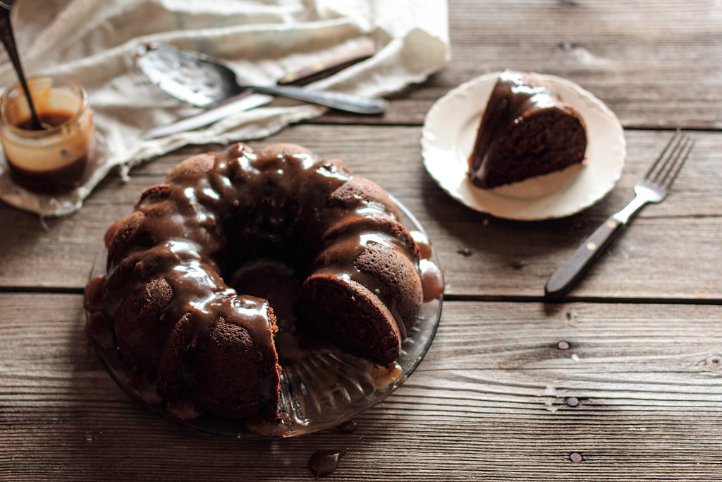 Gingerbread Cake with Pear Caramel Glaze