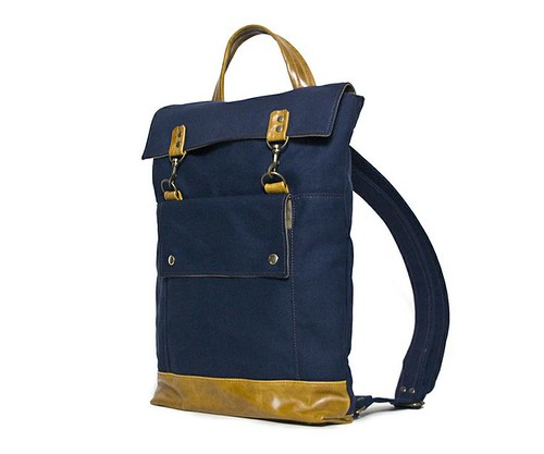 Backpack in Navy Blue Canvas by Jenny N. Design, Hip Handmade Backpack for Men