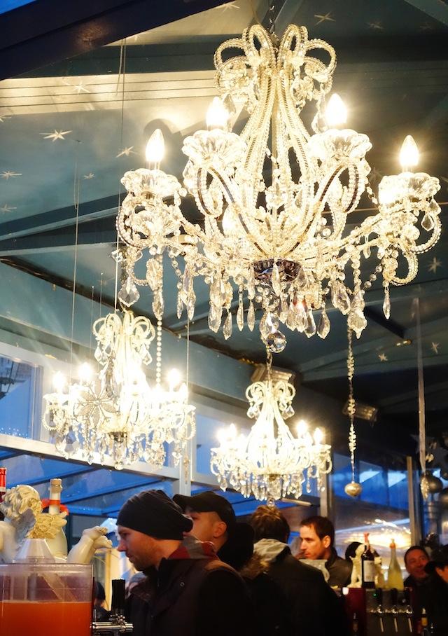 Dusseldorf Christmas market gluhwein stall chandelier