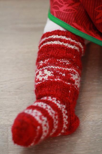 christmassy handknit socks