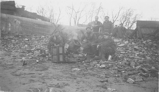Allied soldiers making a fire