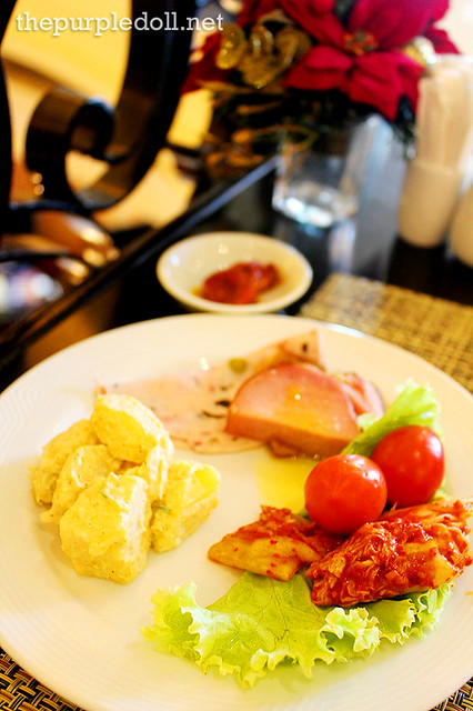 Cold cuts, potato salad and kimchi for breakfast at Cafe d'Asie