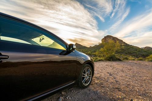 auto sunset arizona sky mountain phoenix car clouds nikon automobile desert wideangle scion cloudporn phx sciontc apachejunction lostdutchmanstatepark d7100