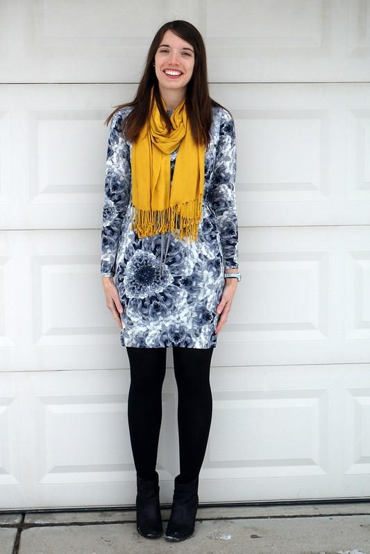 gray print dress