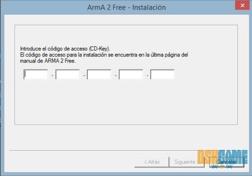 Arma II Free - Introducir clave