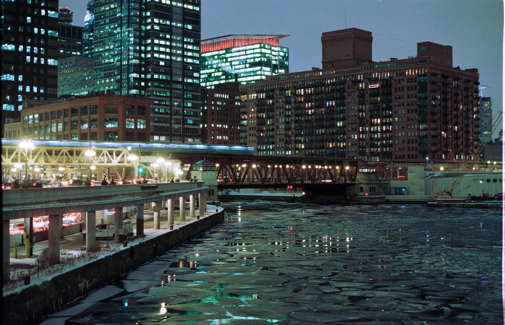 Chicago River with Ice