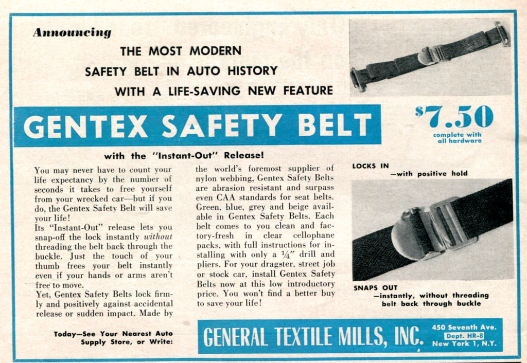 1955 Gentex Safety Belt Advertising Hot Rod August 1955