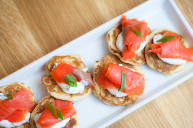 corn pikelets with salmon