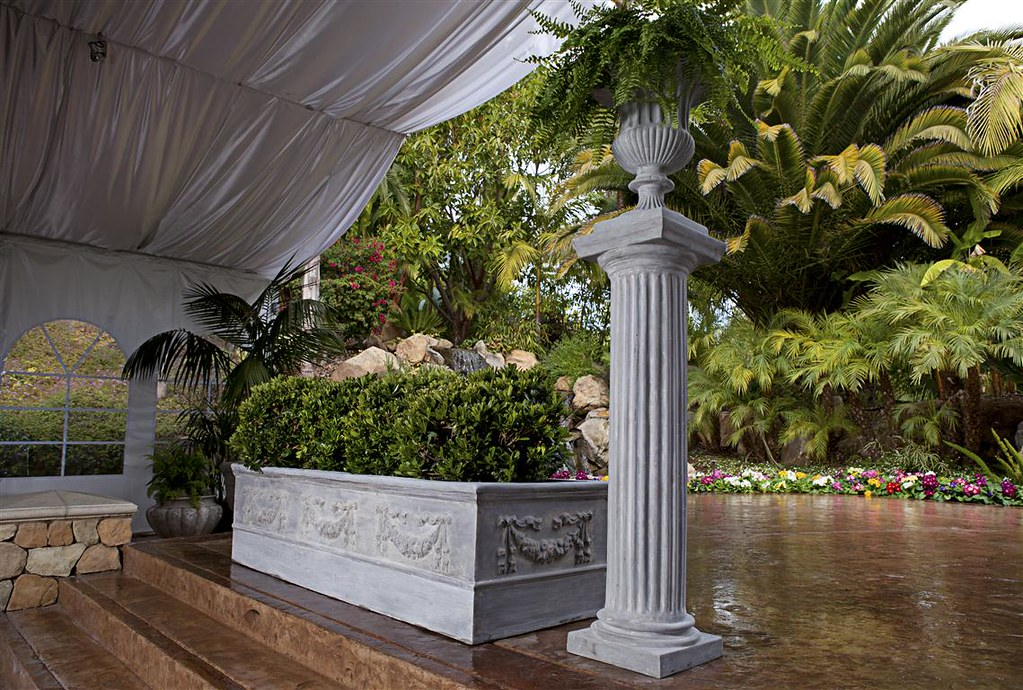 Rectangular Iberian Garland Planter, Doric Column & Classic Ribbed Urn