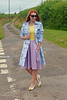 Not Dressed As Lamb | Blue floral trench, yellow tank, purple flare midi skirt, pointed flats by Not Dressed As Lamb