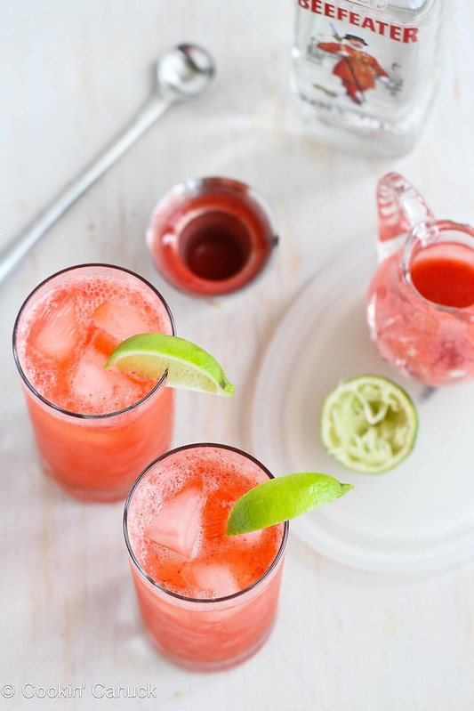 Fresh Strawberry & Lime Tom Collins Cocktail Recipe | cookincanuck.com #cocktail