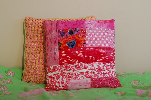 Kantha Embroidered Pillow I made