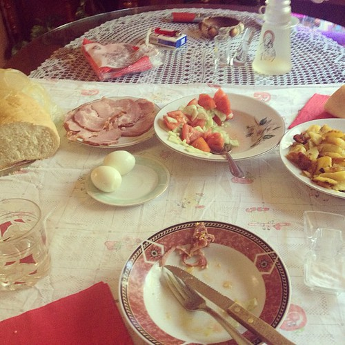 My breakfast this morning. All homegrown and all very tasty! (Note the Rakija) #walkserbia