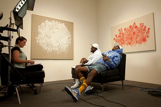A$AP Rocky rocking some pum pum shorts @ a art gallery
