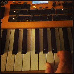 8:36PM: playing with keyboards after a long day of playing with guitars.