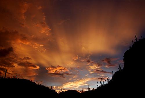 sunset summer arizona cactus mountains clouds 350d rebel canyon monsoon sabino