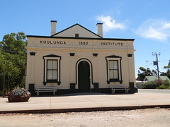 The wording on the building says it all. Koolunga Institute 1882. Koolunga is a small South Australian wheat cereal town on the banks of the Wakefield River. It is known for the mythical Bunyip  creature sightings in the 19th century.