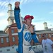 Simon Pagenaud celebrates his victory on pit lane in the Grand Prix of Baltimore