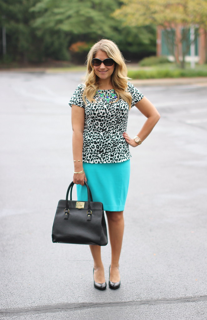 peplum top teal pencil skirt work outfit