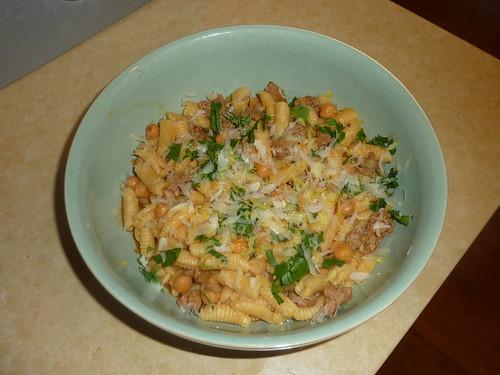 Pasta with Chorizo and Chickpeas Judith