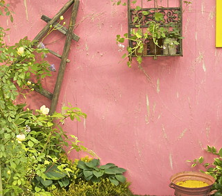 Ladder, pink wall, pink bucket