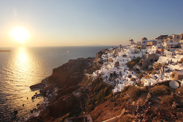 Santorini sunset-Oia wide shot