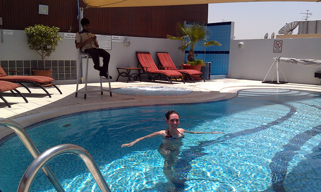 Dubai rooftop pool lifeguard.