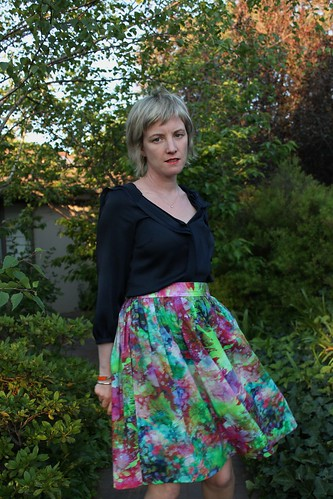 Gathered skirt with a splash of fluoro green
