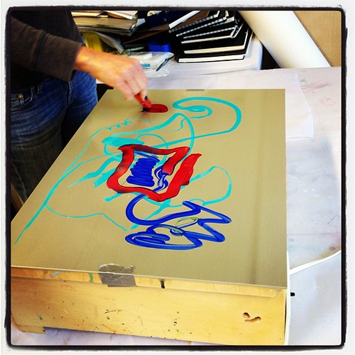 Deena demo'd monotype prints on a hotbox
