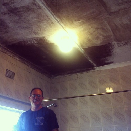 Jim spent a chunk of yesterday scrubbing black mold off of the bathroom ceiling in our host's home.  This man is GONNA find work to do.  Anyone wanna bring over a gallon of Kilz paint? O-o #hardworking #hunkyhubby #ilovethisman #servantheart #blackmold #n