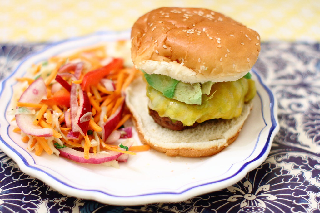 Sunday Dinner: Green Chile Cheeseburgers and Spicy Coleslaw