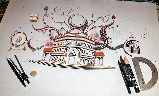 Le Sanctuaire - dessin en cours de réalisation - Feutres Posca sur papier - étape 2 - 24 novembre 2013