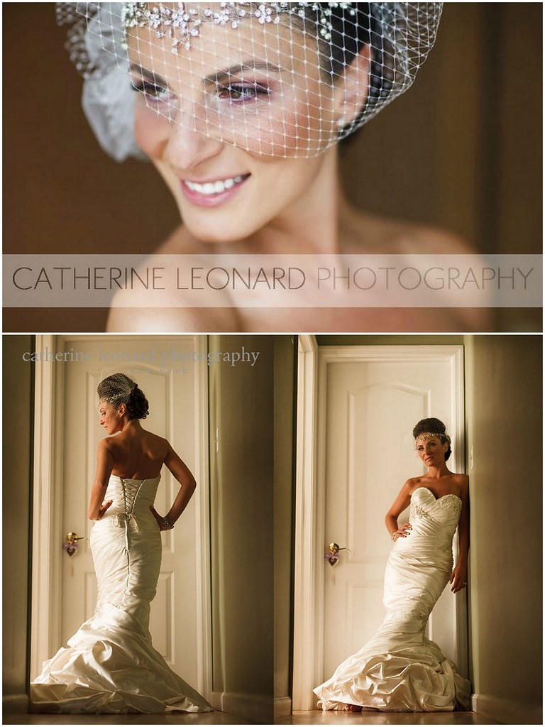 Angela & Walter, custom headpiece and cage veil - Bridal Styles Boutique, photography - Catharine Leonard