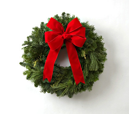 i definitely gravitate to the simple clean and traditional look of pure greenery and a crisp red bow one of the few times i use red in dcor it is my - How To Make A Christmas Bow For A Wreath