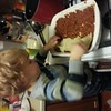 Working hard on Grandma's birthday lasagna #latergram