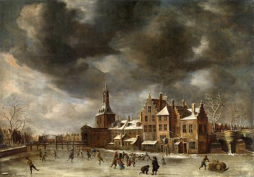 002-El Blauwpoort Leiden en invierno, Abraham Beerstraten, ca 1635 -Rijkmuseum