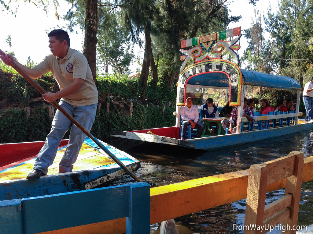 Trajinera driver in Xochimilco, near Mexico City
