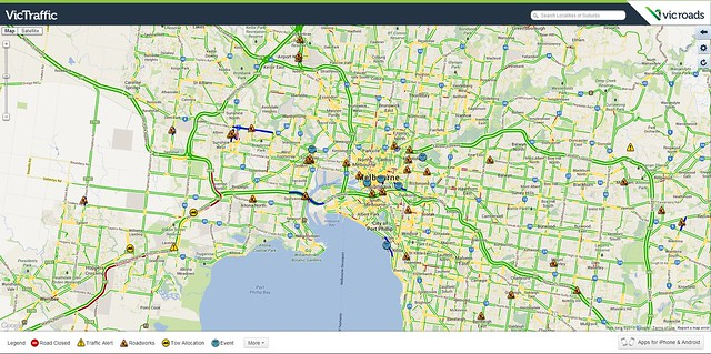 Vicroads traffic map: 11:30am, 28/12/2013