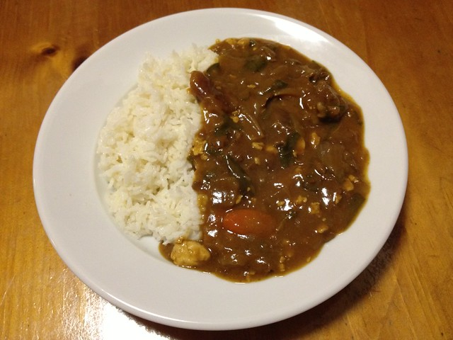 Beef curry and basmati rice