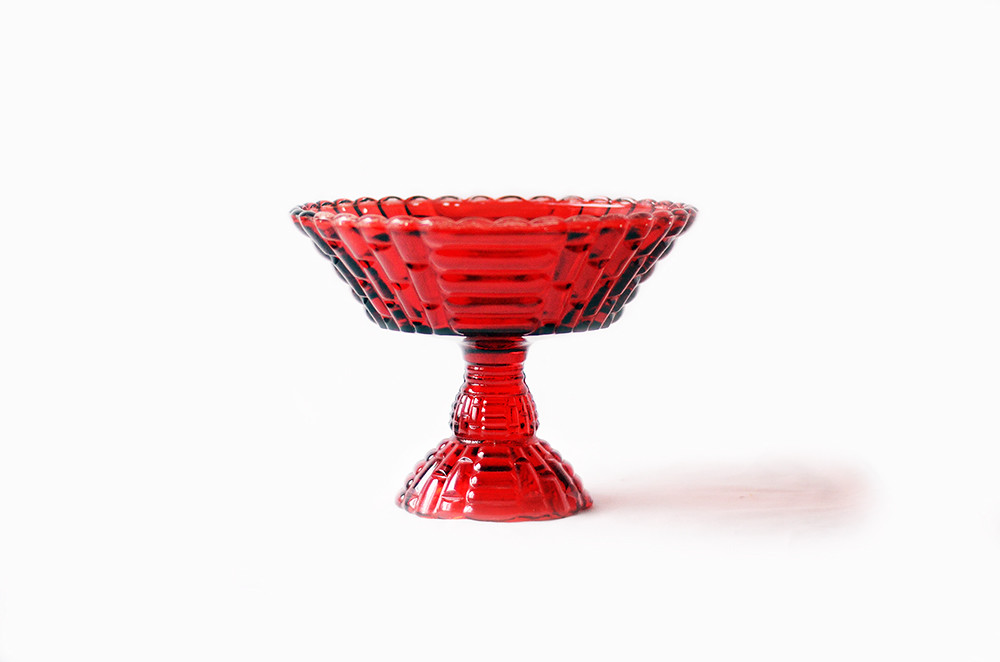 Large Vintage Red Glass Compote Dish