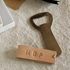 Leather Monogram Bottle Opener