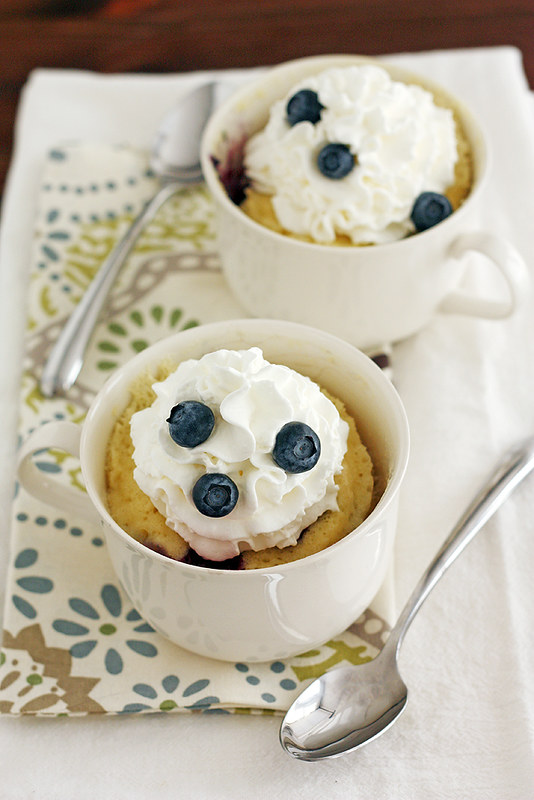 Blueberry White Chocolate Mug Cakes | girlversusdough.com @stephmwise