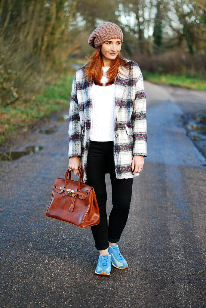 Checked coat & beanie with Diesel trainers & Birkin-style bag