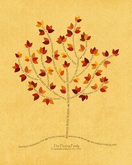 Family tree with names art yellow brown present day autumn leaves roots divorce