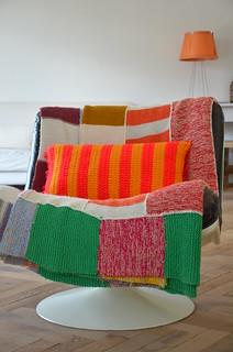 wood & wool striped pillow