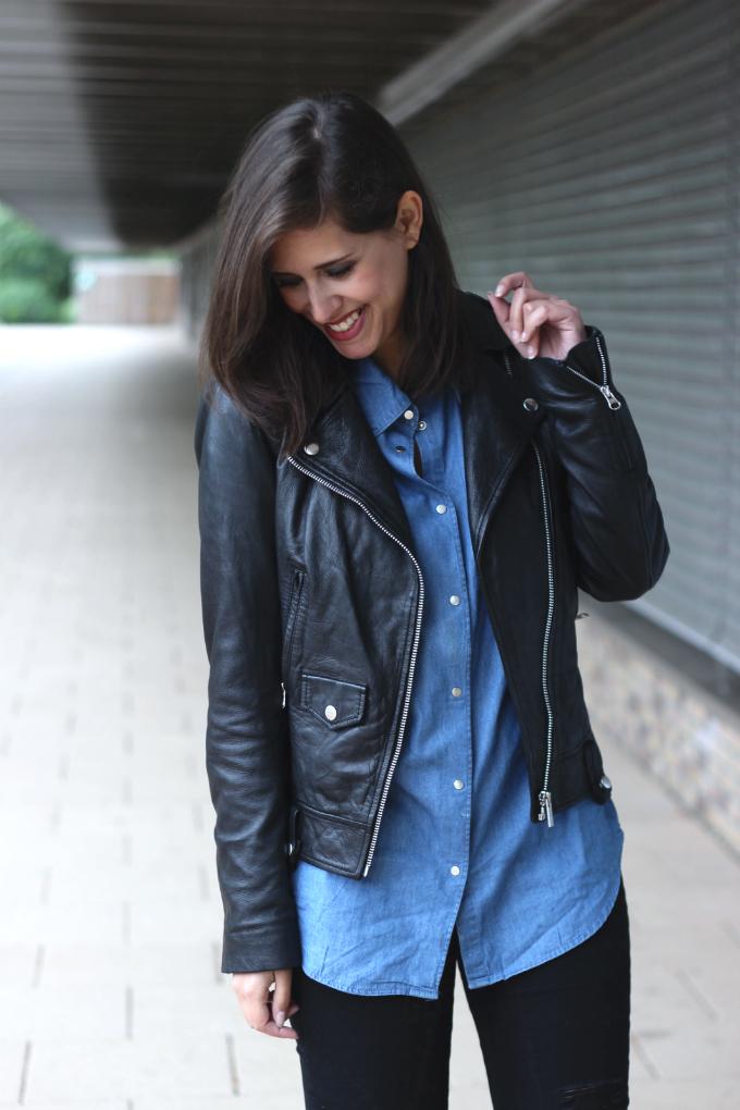 Denim Shirt And Leather Jacket - JacketIn