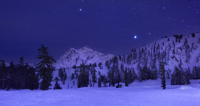 Mt Shuksan at Night (Mt Baker Ski Area, Heather Meadows).
